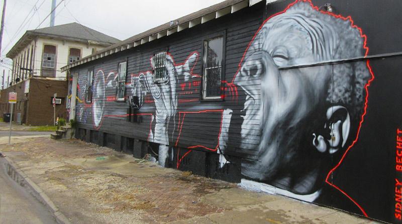 Mural of Sidney Bechet in New Orleans.